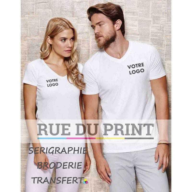 Tee-shirt publicité blanc profil col V Clive 95% coton ringspun peigné, 5% élasthanne, 170 g/m² bord côte au col