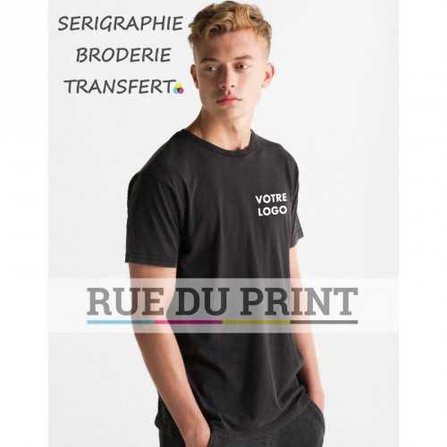 Tee-shirt publicité gris foncé profil homme Vintage 100% coton (signe jersey) 150 g/m² prélavé col rond