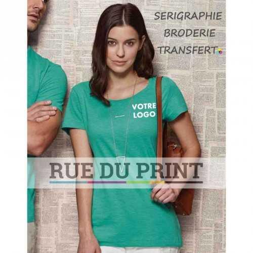 Tee-shirt publicité bleu profil femme ras de cou Sharon 100% coton ringspun (jersey simple 'slub'), 140 g/m² bande de propreté