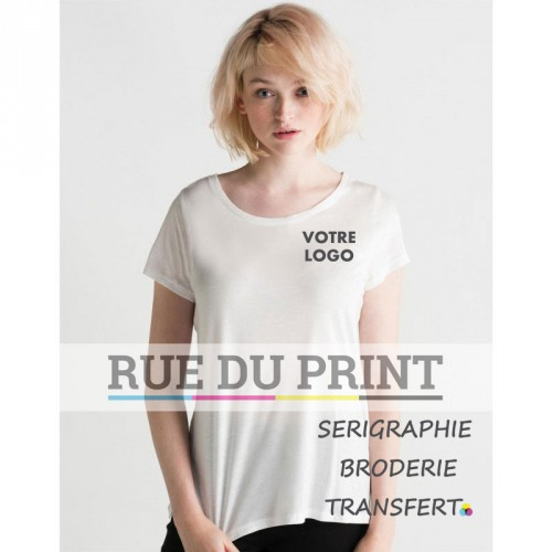 "Tee-shirt femme ""Black Label"" Tencel® publicité blanc profil 100% lyocell (jersey simple, Tencel®), 150 g/m² brillant et doux"
