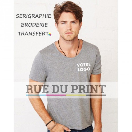 Tee-shirt homme large col