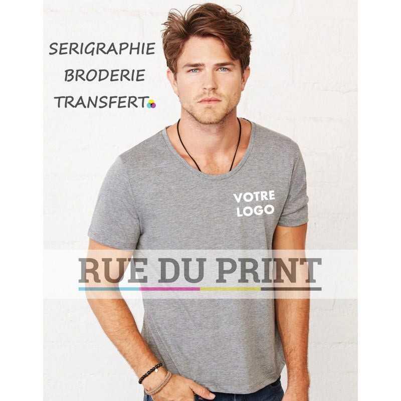 Tee-shirt publicité gris profil homme large col 145 g/m² (couleurs triblend: 115 g/m²) 100% coton peigné ringspun