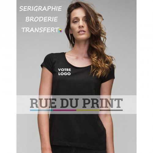 Tee-shirt femme col U Organic publicité noir profil 100% coton (jersey simple), 150 g/m² scoop neck bord fin au cou