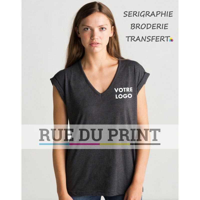 Tunique femme col V Duo Blend publicité gris profil 60% coton, 40% polyester (jersey simple), 145 g/m² décolleté en V avec biai