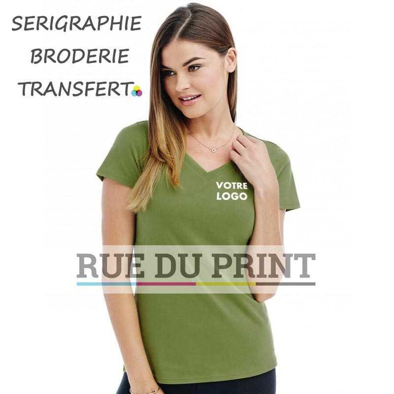 Tee-shirt publicité verre terre profil femme col V Janet 100% coton, certifié OCS organique, peigné et ringspun (simple jersey),