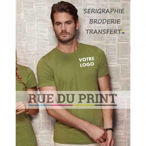 Tee-shirt publicité vert terre profil homme ras de cou James 100% coton, certifié OCS organique, peigné et ringspun (simple jers