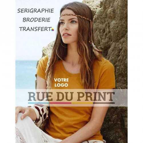Tee-shirt publicité jaune indien profil femme ras de cou Janet 100% coton, certifié OCS organique, peigné et ringspun (simple j