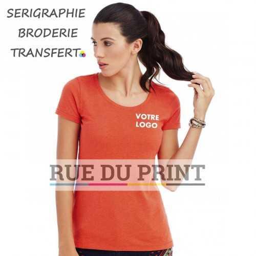 Tee-shirt publicité orange profil femme ras de cou Lisa 60% coton ringspun peigné, 40% polyester (jersey simple mélangé), 145 g/
