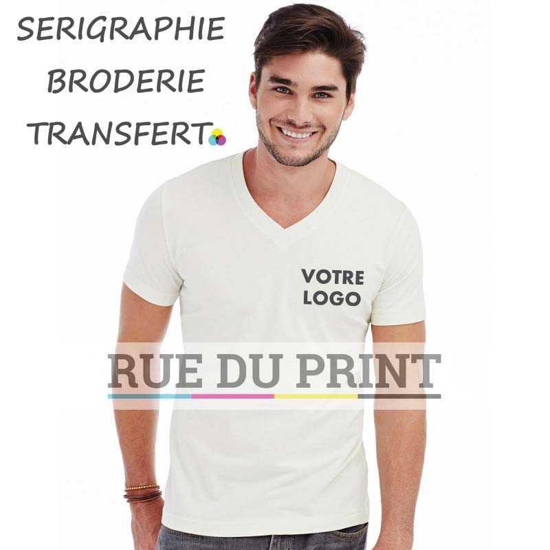 Tee-shirt publicité blanc profil homme col V James 100% coton, certifié OCS organique, peigné et ringspun (simple jersey), 155 g