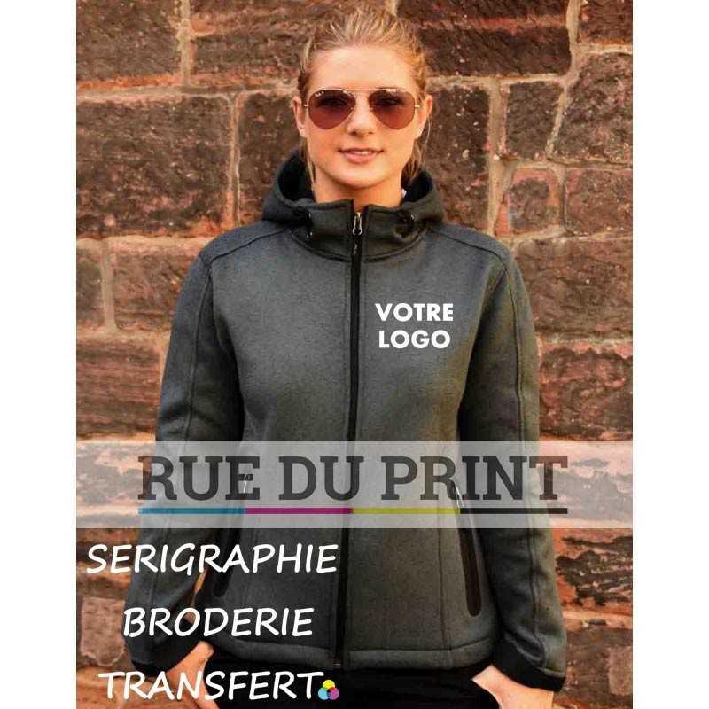 Veste publicité femme Softshell 370 g/m² ext: 97% polyester, 3% élasthanne (jersey mélange) int: 100% polyester (polaire), tis